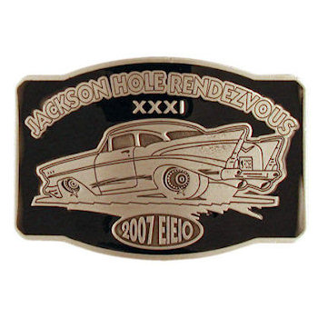 Classic car belt buckle with color accent