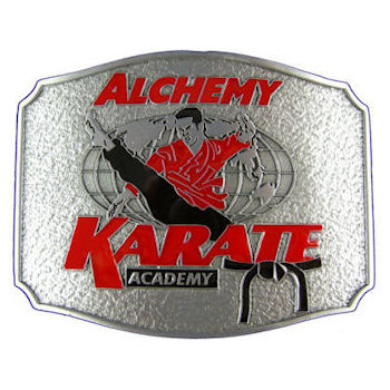 Karate Academy buckle with martial arts participant with black belt and globe in background