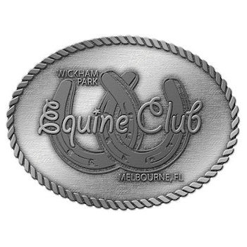 Veterinary club oval belt buckle with featured joined horseshoes and rope border