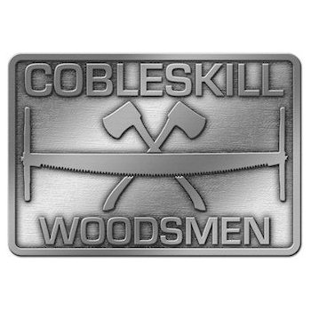 Woodsmen rectangular belt buckle with saw and crossed axes