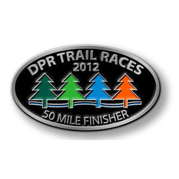 Colorful fir trees on this race finisher buckle