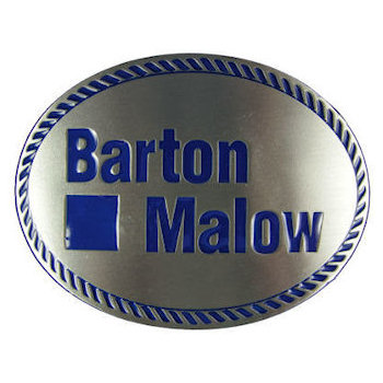 Oval belt buckle with color fill rope border and corporate firm name