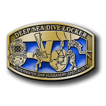 Deep Sea Dive Locker with divers and divers helmet on this Underwater Ship Husbandry Specialists buckle