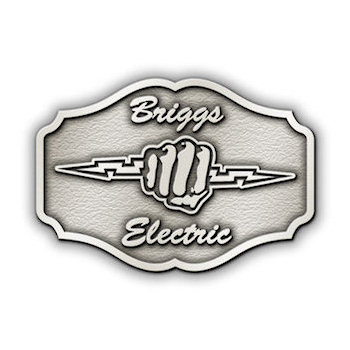 Briggs Electric Buckle with fist gripping lightning bolt