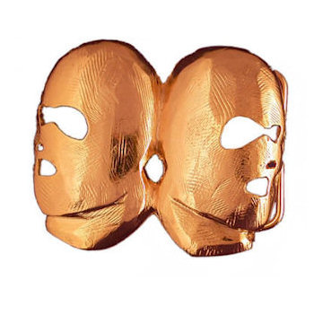 Unique mask design belt buckle with cut out for eyes and mouth and nose cavities