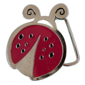 Fanciful belt buckle in shape of Lady Bug