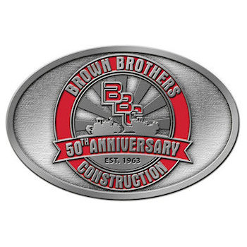Brown Brothers Construction company 50th Anniversary Buckle