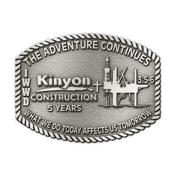 Kinyon Construction Belt Buckle with Rope border - specializes in industrial construction projects