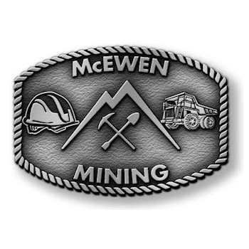 McEwen Mining Buckle with Safety Helmet and Dump Truck and Pickaxe and Shovel