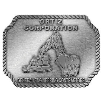 Ortiz Corporation - General Engineering Contractors with Backhoe Loader on buckle with rope border