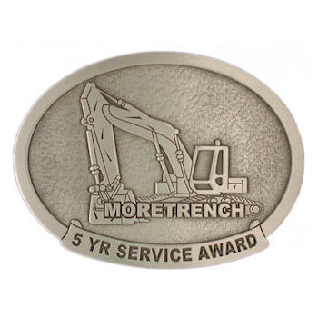 MoreTrench 5 Year Service Award Belt Buckle with Construction Backhoe - turnkey services for large industrial projects