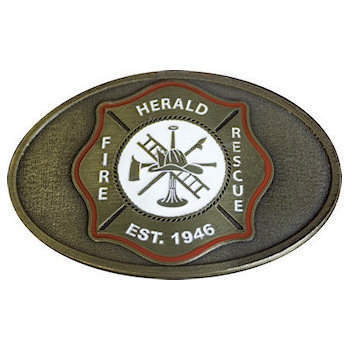 Fire Rescue Belt Buckle with Maltese Cross featuring Ladder, Helmet, Axe and Bugle