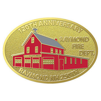 120th Anniversary Fire Department Buckle with bright Red Station and excellent detailed garage doors and windows