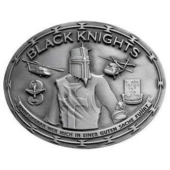Black Knights Military Buckle - Very detailed 3d sculpting.  Multiple military emblems including helicopters, crest and insignia.