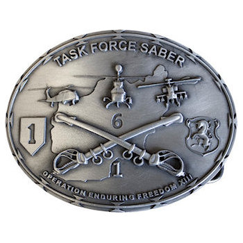 Task Force Saber buckle with 3D crossed sabers, helicopters and crest with horse