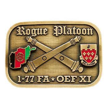 Military Platoon belt buckle with Afghanistan flag on one side