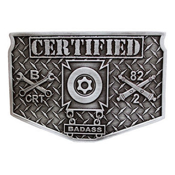 Platoon belt buckle with Crossed Wrenches amd Textured Background