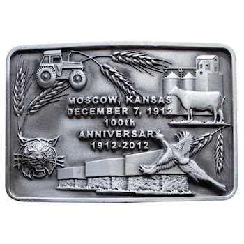 3d 100th Anniversary Belt Buckle with Agricultural and Wildlife Sculpted Images