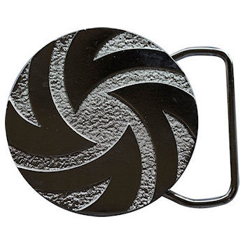 Cutout Swirl Design on Etched Background make this a Stunning Belt Buckle