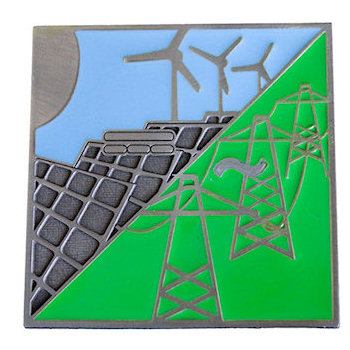 Solar Panels and Wind Turbines are etched on this Environmental Belt Buckle with Color Fill Accents