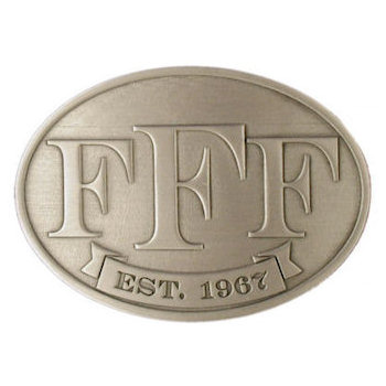 Oval belt buckle with three letter F
