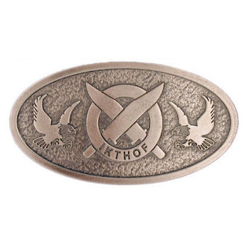 International Knife Throwers Hall of Fame Belt Buckle with Crossed Knives and Eagle on Both Sides of Oval Buckle