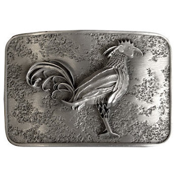 Etched Belt Buckle with 3D Intricate Rooster
