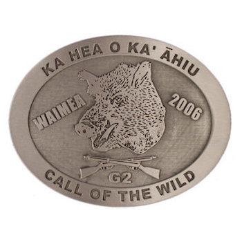 Oval Hunting belt buckle with hog and crossed rifles