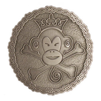 Monkey head with crown and crossed bones belt buckle with barb wire border