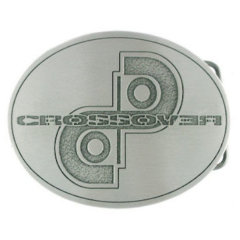 Unique oval belt buckle with design stippled cut out in background