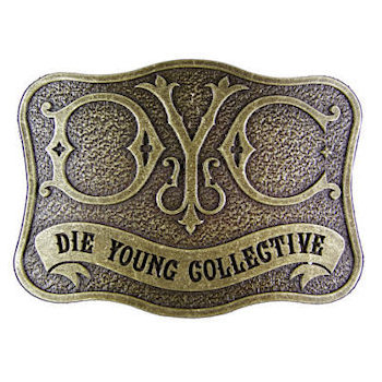 Die Young Collective Clothing Fashion Belt Buckle with Engraved Letter Logo