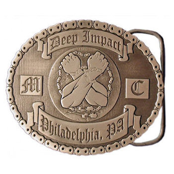 Motorcycle club belt buckle with crossed arms and bike chain border