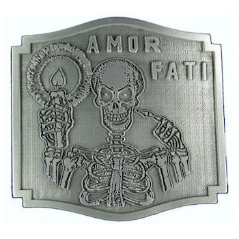 Motorcycle club belt buckle with skeleton holding candle