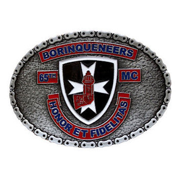 Motorcycle Club belt buckle with bike chain border
