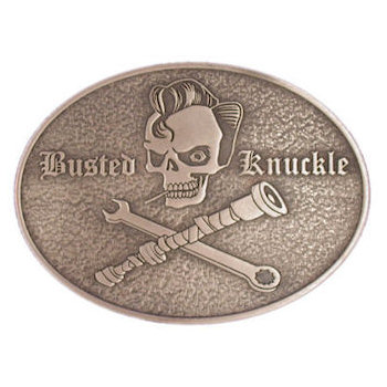 Skull belt buckle with mechanics tools
