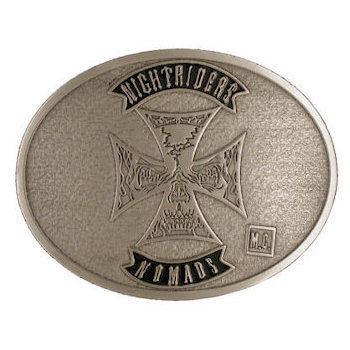 Dutch Motorcycle Club belt buckle with Cross centred on Buckle