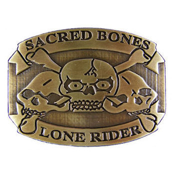 Motorcycle club belt buckle with skull and bones