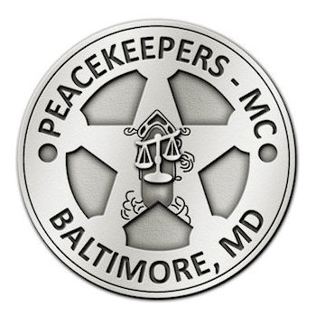 Maryland Peacekeeper Motorcycle Club Belt Buckle with Scale of Justice centered on Star