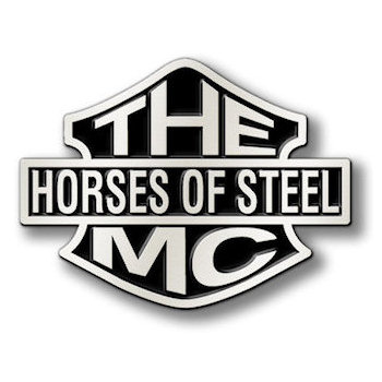 Unique buckles Horses of Steel MC in unusual shape color