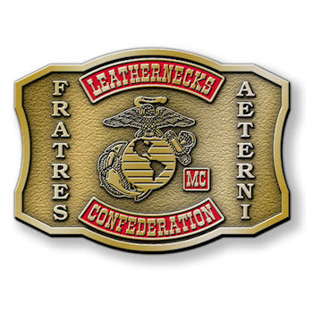 Motorcycle buckle for members of the Leathernecks Confederation MC with club logo, moto and colors
