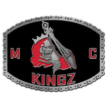 Motorcycle buckles for members of the Kingz MC with unique bike chain border and club logo in full color
