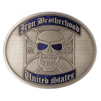 Oval Motorcycle Club belt buckle with skull and color fill accent areas