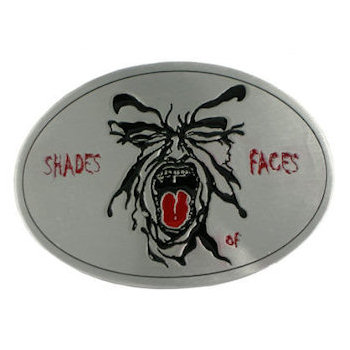 Screaming face oval belt buckle with color fill