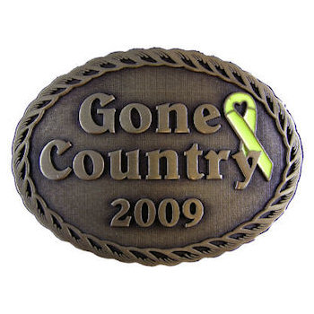 Country belt buckle with color fill awareness ribbon on side of oval buckle with rope border