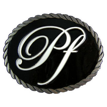 Oval belt buckle with rope border and color fill with centered script