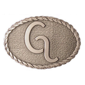 Oval belt buckle with rope border and antique stippled background