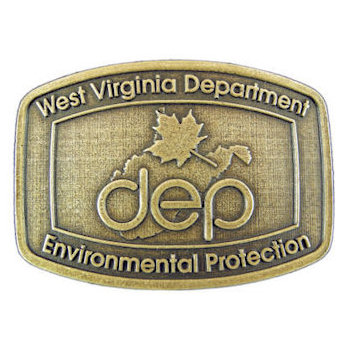 State Department belt buckle with maple leaf in middle of state outline