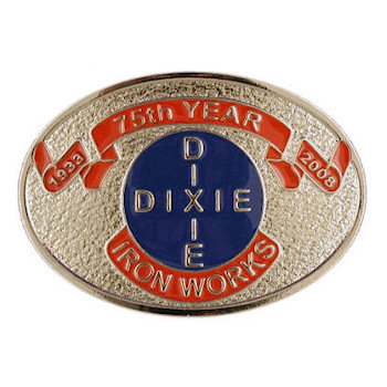 Oval trades belt buckle with color fill accent areas and antique stippled background