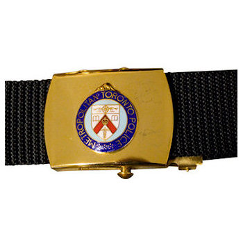 Police Belt Buckle with Crest and Web Belt