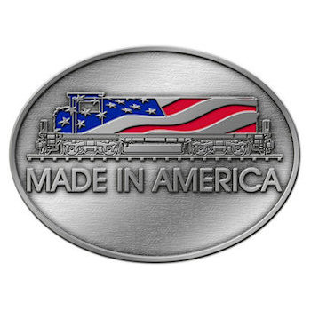 Patriotic Train Buckle - Made in America with USA Flag on Locomotive